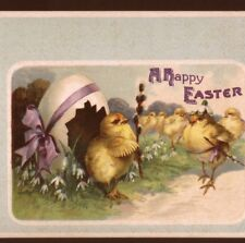 Clapsaddle. Easter Chick Stands Sentry For Army,Egg Guard House,Old Postcard