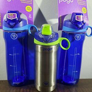 Lot Of 3 Pogo Water Bottles: 2x Tritan 18 Oz BPA Free Blue & Stainless 12 Oz