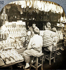 Keystone Stereoview of Clogs at a Shoe Shop in JAPAN from the 1930's T600 Set