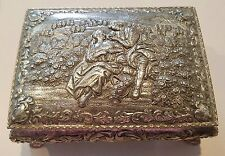 Vintage Silver tone ornate love rose courting engagement proposal jewelry box