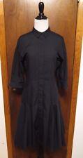 Prabal Gurung Black Cotton Button Front Pleated Sheath Dress Sz 2