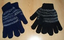 Damen Handschuhe Schwarz Blau Lurex gestreift Gr. S - 2 Paar