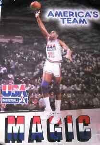 VINTAGE 1992 Magic Johnson Team USA POSTER Dream Team RARE NEW IN PLASTIC L@@K
