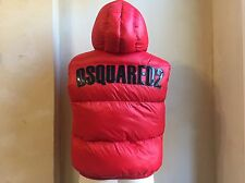 DSQUARED² RED BLACK PATENT LEATHER SIGNATURE DOWN HOODED VEST PUFFER JACKET S 52