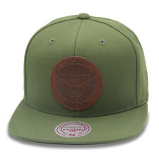 Mitchell & Ness Chicago Bulls Snapback Hat Cap Olive/Circled Leather
