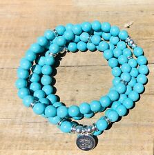 Real Turquoise 108 Mala Necklace , Ohm Charm