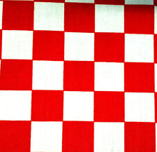 """Red and White Checkered POLY COTTON FABRIC 60"""" By the Yard Party Decor 1"""" Check"""