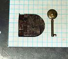 Vtg Antique Old Barrel Skeleton Key & Lock Set Furniture Cabinet Desk Drawer Box