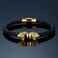 Mens Leather Twin Skull Bracelet Wristband Punk Goth Gift Bracelets Gold Black