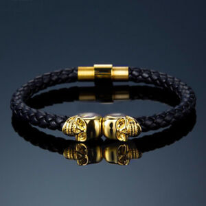 Mens Leather Twin Skull Bracelet Wristband Punk Goth Gift Bracelets Gold Black
