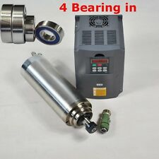FOUR BEARING 4KW WATER COOLED SPINDLE MOTOR ER20& INVERTER VFD FREQUENCY DRIVE