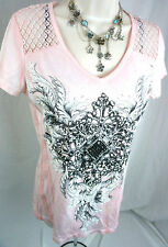 Vocal Top Size Medium Western Crystal Bling Pink Lace Womens Shirt M