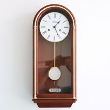 German SELVA HERMLE Vintage Wall Clock Mid Century BELL Chime Wood/Glass 8 Days!