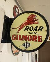 Old Vintage Double Roar Gilmore Gasoline Porcelain Pump Plate Custom Flange
