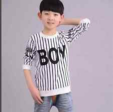 Fashion Kids Toddlers Boy Girl Funny Striped BOY Letter Cotton Tops T-Shirt New