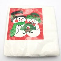 Vintage Hallmark Beverage Paper Napkins Snowman Couple Set 16 Christmas