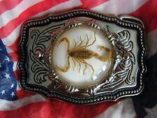 NUOVO realizzato a mano Scorpion Cintura Fibbia in Metallo Argento Gotico Da Cowboy, Western, BIKER