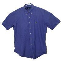 Ralph Lauren Mens Large Blue Checkered Short Sleeve Classic Fit Button Up Shirt