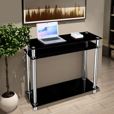 3-tier Glass Hallway Console Table Stainless Steel Leg Hall Entry Display Desk