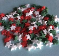100 EDIBLE SUGARPASTE CHRISTMAS LITTLE STAR MIX CUPCAKE/CAKE TOPPERS DECORATIONS