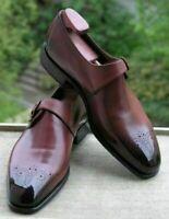 Handmade Men's Brown & Black Leather Heart Medallion Monkstrap Shoes
