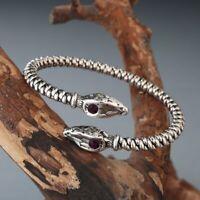 Men Viking Bangle Double Head Snake Red Eye Wristband Cuff Bracelet Indian Jewel