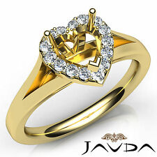 Heart Diamond Semi Mount Engagement 14k Yellow Gold Halo Pave Setting Ring 0.2Ct