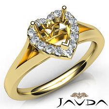 Heart Diamond Semi Mount Engagement 14k Yellow Gold Halo Pave Setting Ring 0.2Ct