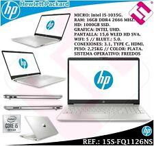 "HP 15s-fq1126ns 15,6"" (Intel Core i5-1035G1, 16GB RAM, 1TB SSD) Portátil - Plata Natural (13G50EA#ABE)"