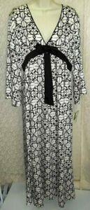 Kate Spade Large/X-Large satin Caftan/Lounger Dress V-Neck Empire Black/Ivory