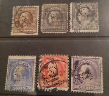 Old US 1912 Washington perfins(6) $5 start!!
