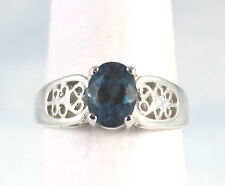 London Blue Topaz 8X6 mm Filigree Setting Ring Sterling Silver Size 7