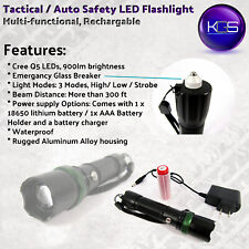 KGS Tactical Flashlight with Rechargeable Battery & Charger & Glass Breaker