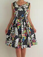 Women's Black Sleeveless Floral Empire Waist Fit Flare Evening Dress Sz 10-12-14