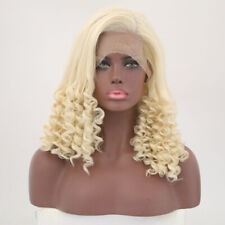"""16"""" Synthetic Curly Hair Lace Front Wig Medium Hair Ash Blonde Heat Resistant"""