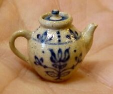 IGMA Artisan Jane Graber Miniature Stoneware Floral Lidded Teapot: 1:12 Scale