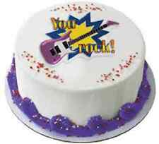 NEW CUPCAKE BIRTHDAY PARTY CAKE TOPPER BLUE YOU ROCK GUITAR ROCKER ROCK ON