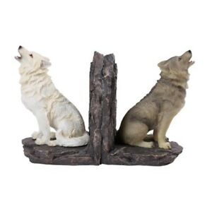 Howling Wolves Wolf Bookend Set Home Decoration