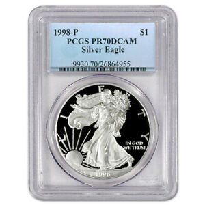 1998-P Proof American Silver Eagle One Dollar Coin PCGS PR70 DCAM