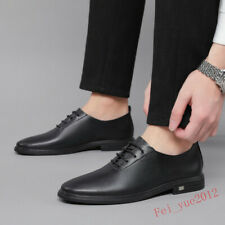 Men's Lace Up Leisure Low Heel Round Toe Pumps Business Leather Shoes Oxfords