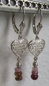 Sterling Silver leverback earrings, Valentine's Day, filigree dangles, gem beads
