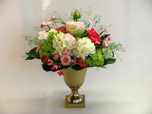 Strauß Blumen Seidenblumen Ranunkel Nelke Bellis Kirschblüten pink rosa weiß