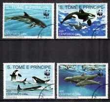 Animaux Mammifères marins St Thomas et Prince (44) complète 4 timbres oblitérés