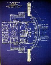 "Vintage Cunard Passenger Ship Lusitania's Bridge Blueprint Plans  17""x24"" (132)"
