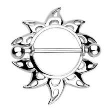 Pair of 316L Surgical Steel Rising Sunburst Nipple Shield Ring