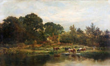 Nice Oil painting village by the river with cows cattles drink water - landscape