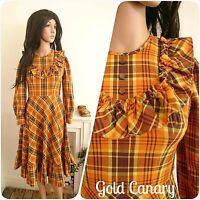 Vintage 70s Orange Checked Ruffle Cotton Boho Prairie Folk Dress 60s 8 36