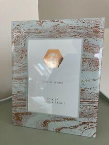 "Glass Photo Frame Rose Gold Glitter Shabby Chic 5x7"""
