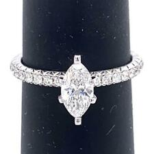 0.91 TCW Marquise & Round Diamonds Engagement Ring In 18k White Gold Size 6.0