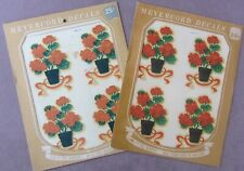 Vintage 1950s * 2 Packages Meyercord Decals * Potted Red Geraniums 8 Decals 3 ½""